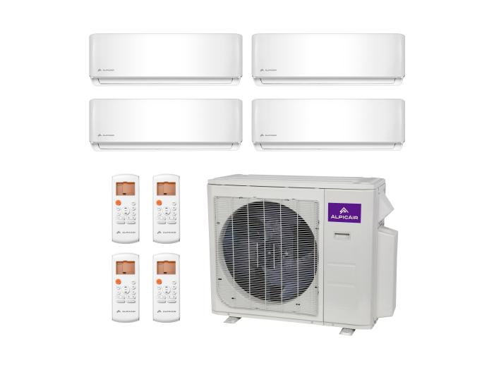 Quad-Zone Ductless Mini-Split 36,000 BTU Inverter Heat Pump System (9k+9k+12k+18k) 22.5 SEER ALPICAIR